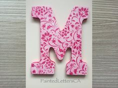 Painted Nursery Letters Initial Wooden Wall Door Custom Modern Design Pink Flowers Floral Gift Baby Child Name Home Decor Girl - M by PaintedLettersCA on Etsy Painted Letters, Hand Painted, Baby Name Signs, Nursery Letters, Floral Letters, Home Decor Shops, Wooden Walls, Kid Names, Pink Flowers