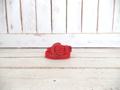 70s vintage red crochet/macrame cotton rope leather boho/hippie belt/braided woven chord festival belt by GreenCanyonTradingCo on Etsy