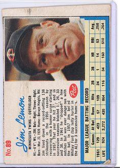 1962 Post 89 Jim Lemon Minnesota Twins | eBay