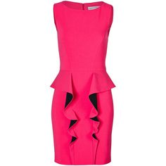 EMILIO PUCCI Wool Blend Ruffle Front Dress ($587) ❤ liked on Polyvore featuring dresses, robes, short dresses, pink sleeveless dress, sheath dress, fancy cocktail dresses, peplum dress and pink peplum dress