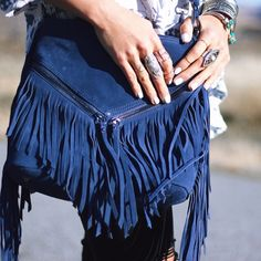 """Suede Fringe CrossBody ✅ Brand NEW! With tags   Bundle Discounts    Fast Shipping   TOP RATED Posher!  ❗️ NOT FP, this is Designer Sorial Zip closure; lined. Two interior slip pockets, interior zip pocket. 10""""L x 4.5""""W x 10""""H; 22"""" strap drop. Suede. Imported. Free People Bags Crossbody Bags"""