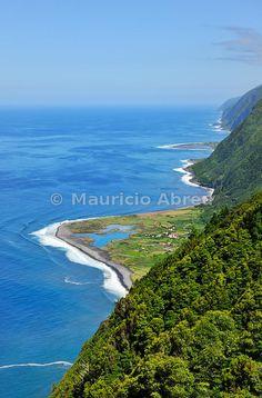 Fajã dos Cubres. Fajãs are sliding lands along the seaside. São Jorge, Azores islands, Portugal