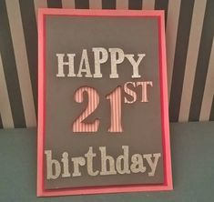 21st pink - grey  birthday postcard Birthday Postcards, Pink Grey, 21st, Frame, Happy, Home Decor, Picture Frame, Decoration Home, Room Decor