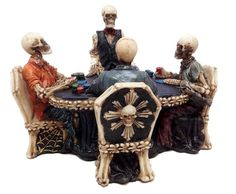 Still Addicted to Gambling Poker Night Skeleton Never Dies Figurine Collection