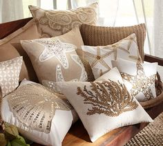Some fancy schmancy seaside themed pillows , , Caicos Coral Embroidered Pillow Covers | Pottery Barn
