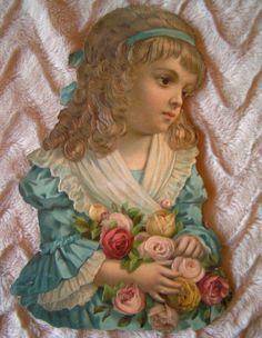 Ernst Freihoff , German —  Girl Holding Roses Paper Scrap Vtg Valentine,1880  —  (1187x1532)