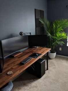 tech home office work spaces & tech home office + tech home office design + tech home office ideas + tech home office decor + tech home office work spaces + tech home office for men + high tech home office + tech desk setup home office Bedroom Workspace, Bedroom Setup, Workspace Design, Office Workspace, Office Interior Design, Office Interiors, Garage Bedroom, Small Workspace, Desk Space