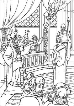 Jesus before the Sanhedrin Holy Week Bible coloring pages