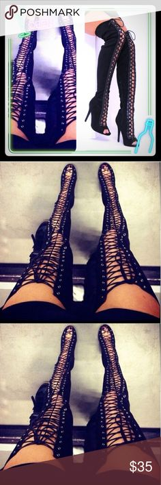 BRAND NEW LACE UP  THIGH HIGH SANDALS Sexy Black High Heels Gladiator Shoes Woman Peep Toe Lace Up Thigh High Boots Summer Over The Knee..suede material Shoes Lace Up Boots