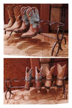 Horse shoe boot rack - my husband welded 6 horseshoes together to hold 3 pair of boots, then 3 horse shoes on each end configured to make the stand, with a rod below to catch the heels. He sprayed it with paint for a finish. This was a perfect gift for my dad.