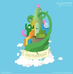 Cactus Ville Illustration by @eyesores