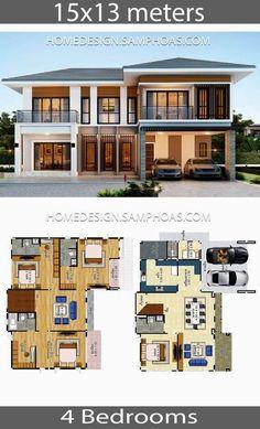 House Plans Idea with 4 Bedrooms – Home Ideas – House Design Sims 4 Modern House, Modern House Floor Plans, Sims House Plans, House Layout Plans, Dream House Plans, House Layouts, House Plans Design, Cool House Plans, Modern Houses
