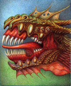 Dragon Head - Ballpoint Pen by VianaArts.deviantart.com on @deviantART