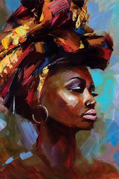 Ukrainian artist Tatyana Yabloed uses a palette knife painting technique, which makes her paintings bright and deep with a unique texture. Black Art Painting, Woman Painting, Painting & Drawing, Oil Painting Abstract, Black Girl Art, Black Women Art, African Art Paintings, Africa Art, African American Art