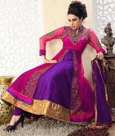 $244.2 Pink and Purple Stone and Crystal Work Net Anrkali Salwar Kameez 23020