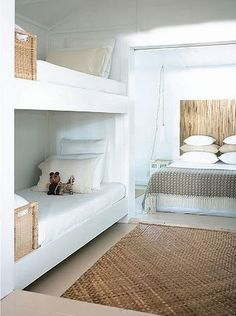 wood headboard with pattern blanket…love excellent family guest room. love all the white and wood.