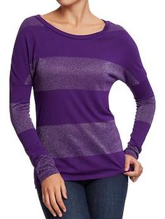 Women's Metallic Color-Block Tops | Old Navy Large in Purple Majesty