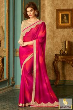 Fall in love with season special new pattern dark pink color pure georgette wedding party wear saree online shopping with discount offer price. This modern party wear saree designed with embroidery work. #saree, #designersaree more: http://www.pavitraa.in/store/designer-sarees/