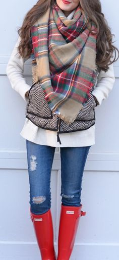 Blanket Scarf, Grey J. Crew Vest, Red Hunters