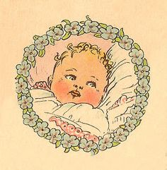 Antique Images: Free Baby Clip Art: Vintage Baby Portrait in Circle Frame of Blue Flowers Baby Clip Art, Baby Art, Vintage Ephemera, Vintage Cards, Baby Illustration, Illustrations, Heritage Scrapbook Pages, Round Canvas, Image Blog