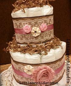 Mini 2 Tier Shabby Chic Diaper Cake Burlap by LittleOrchidStudio