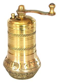 Ottoman coffee mill 3,7'', Turkish coffee grinder. Manual use, Handmade brass, FLORAL calligraphy