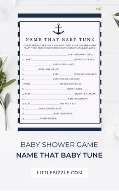 Name That Baby Tune Baby Shower Game Printable Boy Baby Shower Name That Song Game Instant Download by LittleSizzle. Do you think you know these 14 songs and can fill in the blanks? Let your baby shower guests have fun with this nautical baby shower game Name The Baby Tune. With its navy and white stripes, this game is perfect for your boy baby shower. Answer key included. Instant download. Print at home or at your favorite print shop. #boybabyshowergames #nauticalbabyshower #namethatbabytune Baby Shower Activities, Baby Shower Printables, Baby Shower Games, Baby Shower Parties, Baby Boy Shower, Sprinkle Invitations, Baby Shower Invitations, Navy Baby Showers, Wishes For Baby Cards