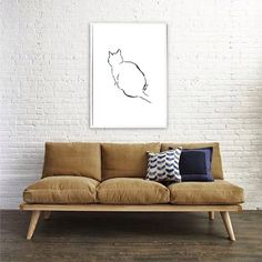 Cat Art - simple minimalistic large sketch for cat lovers.