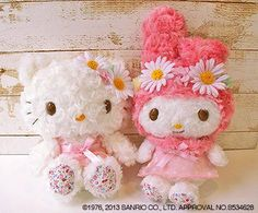 Hello Kitty  My Melody pretty plushies. Almost looks like they're made of flowers.