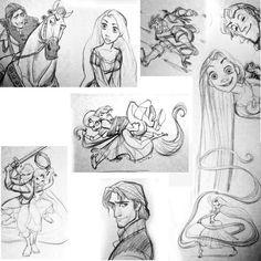 Tangled drawings Glen Keane