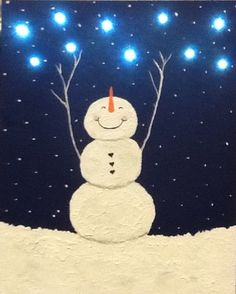 I painted this snowman on a canvas board.   I used textured paint  for the snow.   I found tiny led lights at the Dollar Tree.....drilled small holes & stuck the lights through.