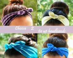 Any 2 Tie Up Headbands  Pin Up Headbands  Jersey and by FlosCaeli, $24.00