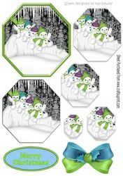 Lovely snowmen playing in the snow  in green hexagon pyramids on Craftsuprint - View Now!