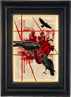 Raven Heart Polka Trash Tattoo Style Red Black  print on antique upcycled book page