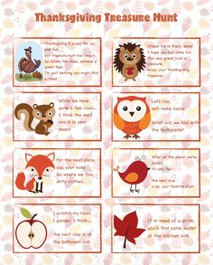 FREE Printable Thanksgiving Treasure Hunt: 16 Mix-and-Match Clues plus blanks to make your own! Great for younger children, easy fun. Christmas Scavenger Hunt, Scavenger Hunt For Kids, Scavenger Hunts, Thanksgiving Games For Kids, Thanksgiving Parties, Kindergarten Thanksgiving, Thanksgiving Baking, Charades For Kids, 21st Birthday Checklist