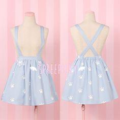 Super Adorable Cat Paw Light Blue Suspender Skirt Free Ship SP141516