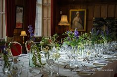 Table decorations in the dining room at Arley Hall