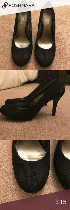 Black pumps Really cute and sexy black lace pumps. Never worn Mootsies Tootsies Shoes Heels