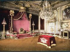 This color photochrome print was taken between 1890 and 1900 in Palace, France.    The image shows The throne room, Fontainebleau Palace, France.