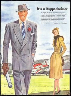 1947 Kuppenheimer Mens Fashion Private Airplane Ad in Collectibles, Advertising, Clothing, 1940s Mens Suits, 1940s Mens Fashion, Suit Fashion, Vintage Fashion, Vintage Ads, Vintage Prints, Guys And Dolls, Moda Casual, Fashion Plates