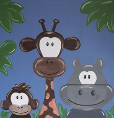 Kinderkamerkunst. Handgemaakt kinderschilderij Jungle dieren. 60x60 cm. Achtergrondkleur: Blauw-grijs. Doek: canvas. Gemaakt door: www.byphilomena.nl