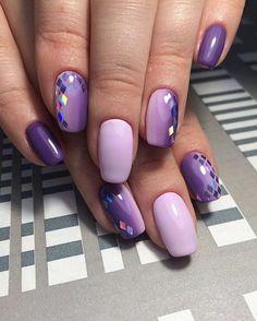 nail art, design, manicure, дизайн ногтей, маникюр, сиреневый, слюда, стразы, градиент, омбре