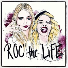 Photo by caradelevingne - @ritaora We are lucky to live, we might as well rock it! By @pepiart