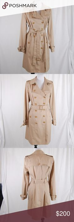 """NWOT Banana Republic Classic Trench Coat with Belt Classic tan color. High collar. Belted arm cuffs. Double breasted button design. Belt has multiple buckle loops, but can also be tied (as seen in pics).  This is a fully functioning trench - button flap neckline and hook closure with fabric flap (covering the hook) at the neck. See 4th picture for the fully buttoned up look.  Approximate measurements (laying flat): --Length = 41"""" --Sleeve = 26"""" --Bust (armpit to armpit / fully buttoned)…"""