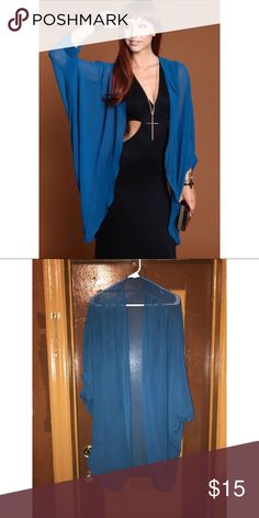 Teal chiffon kimono cardigan In great condition, one size fits all Papaya Sweaters Cardigans