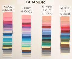 Summer Color Palettes, Soft Summer Color Palette, Summer Colors, Colour Palettes, Cool Skin Tone, Colors For Skin Tone, Cool Tones, Seasonal Color Analysis, Color Me Beautiful