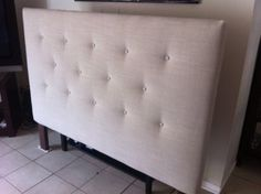 Tan Beige Linen King Or Cal King Size Headboard Button Tufted