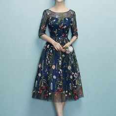Kleider Rosita - Floral Embroidery Elbow-Sleeve Cocktail Dress Why Fuss Over Wedding Centrepieces - Pretty Dresses, Sexy Dresses, Beautiful Dresses, Evening Dresses, Fashion Dresses, Formal Dresses, Elegant Dresses, Shift Dresses, Club Dresses
