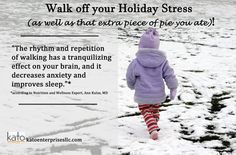 Today's Health Tip: Go for a Walk! Not only will getting outside help you burn extra holiday calories, but you also have an opportunity to walk that stress off: decrease anxiety and improve sleep! Plus being in the sunlight helps stimulate the production of serotonin (which makes you feel good!). Now, throw on a jacket and get outside! #katoenterprisesllc #healthtips #noexcuses