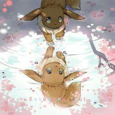 Eevee, reflection, water, puddle, sad, text; Pokémon